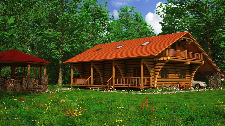 Wood House в 3d max vray изображение