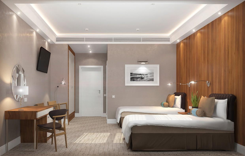 """visualización 3D del proyecto en el Habitaciones """"Standard"""" en el hotel 3d max render vray Yana Tolmacheva"""