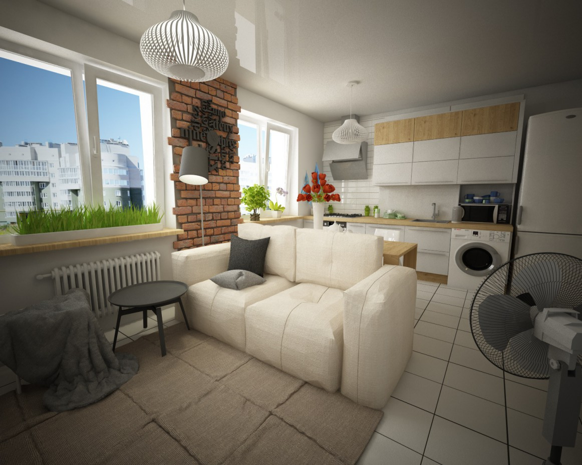 One-room apartment in Cinema 4d vray image