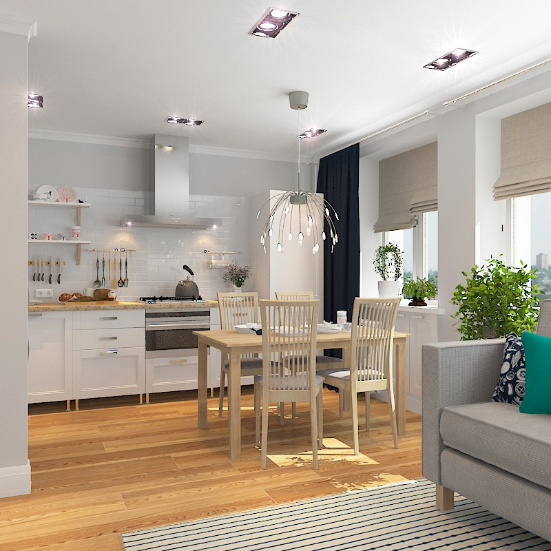 Kitchen-Living in Scandinavian style in 3d max vray image
