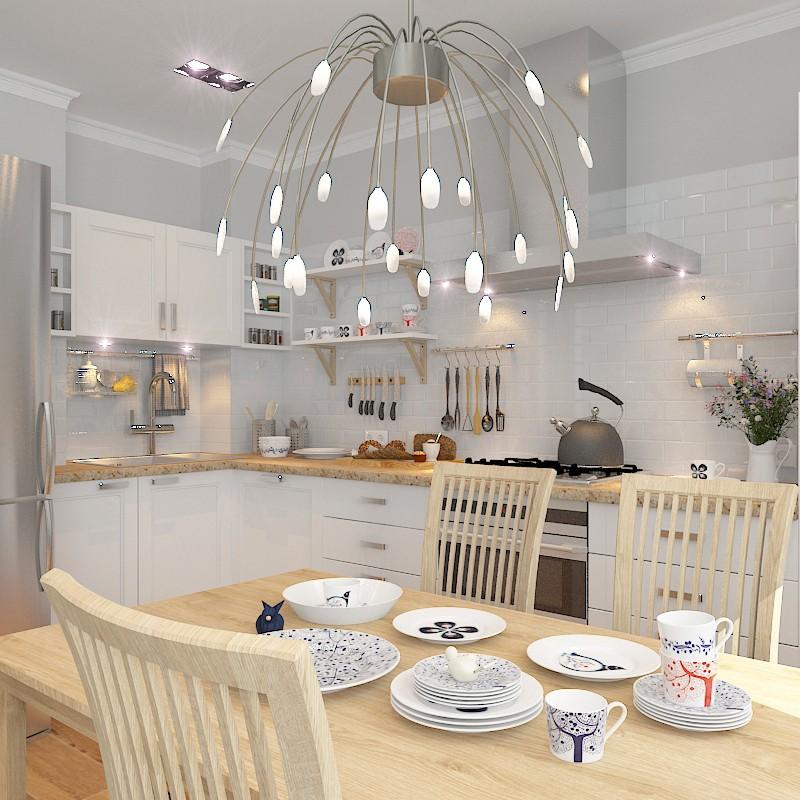Кухня-гостиная в скандинавской стилистике в 3d max vray изображение
