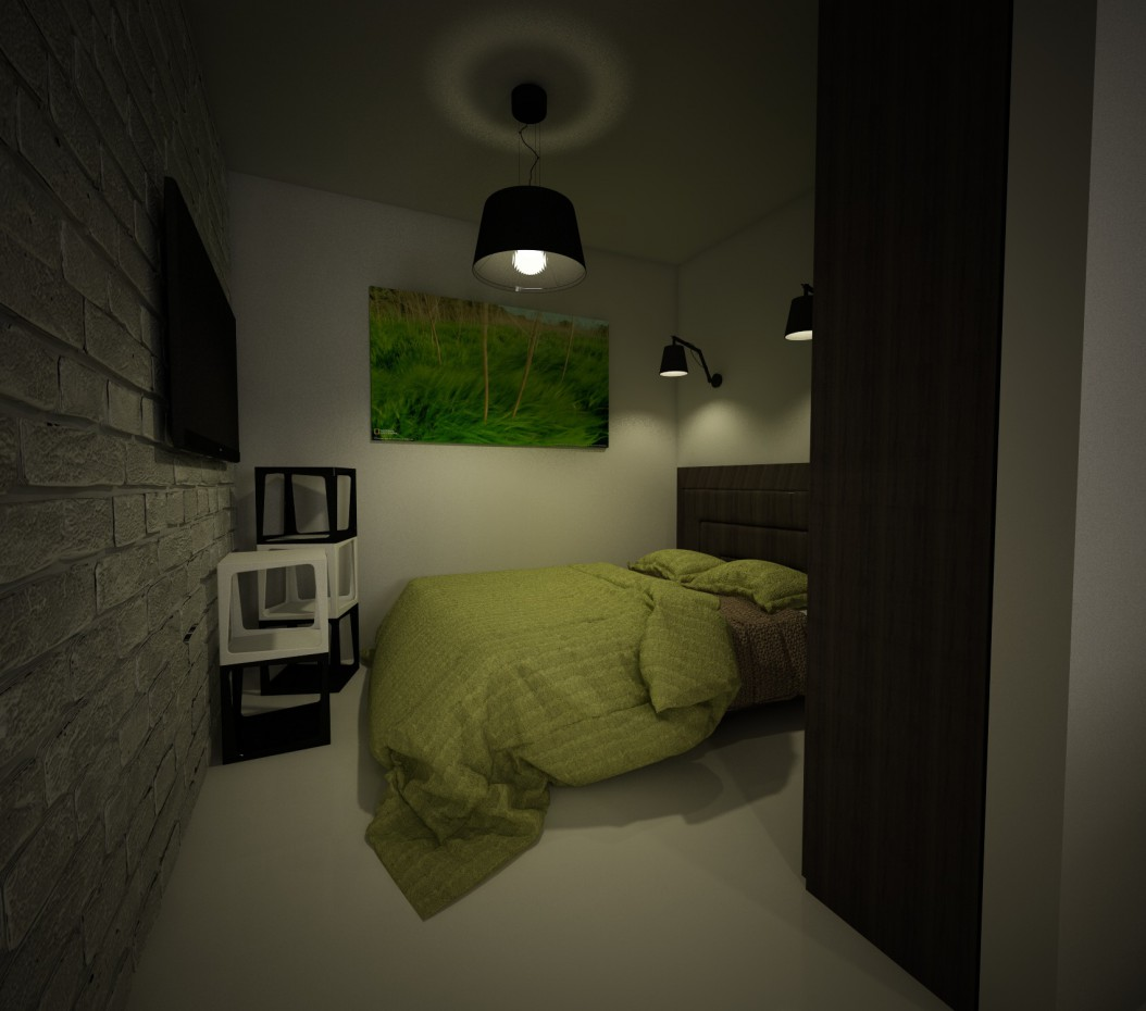 The Interior of an apartment of area of 48 sq.m. in Cinema 4d vray image