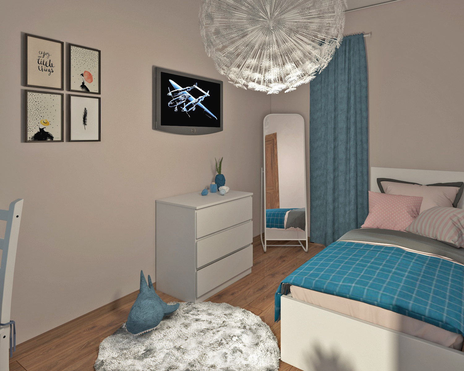 Children's room for a girl in 3d max vray 3.0 image