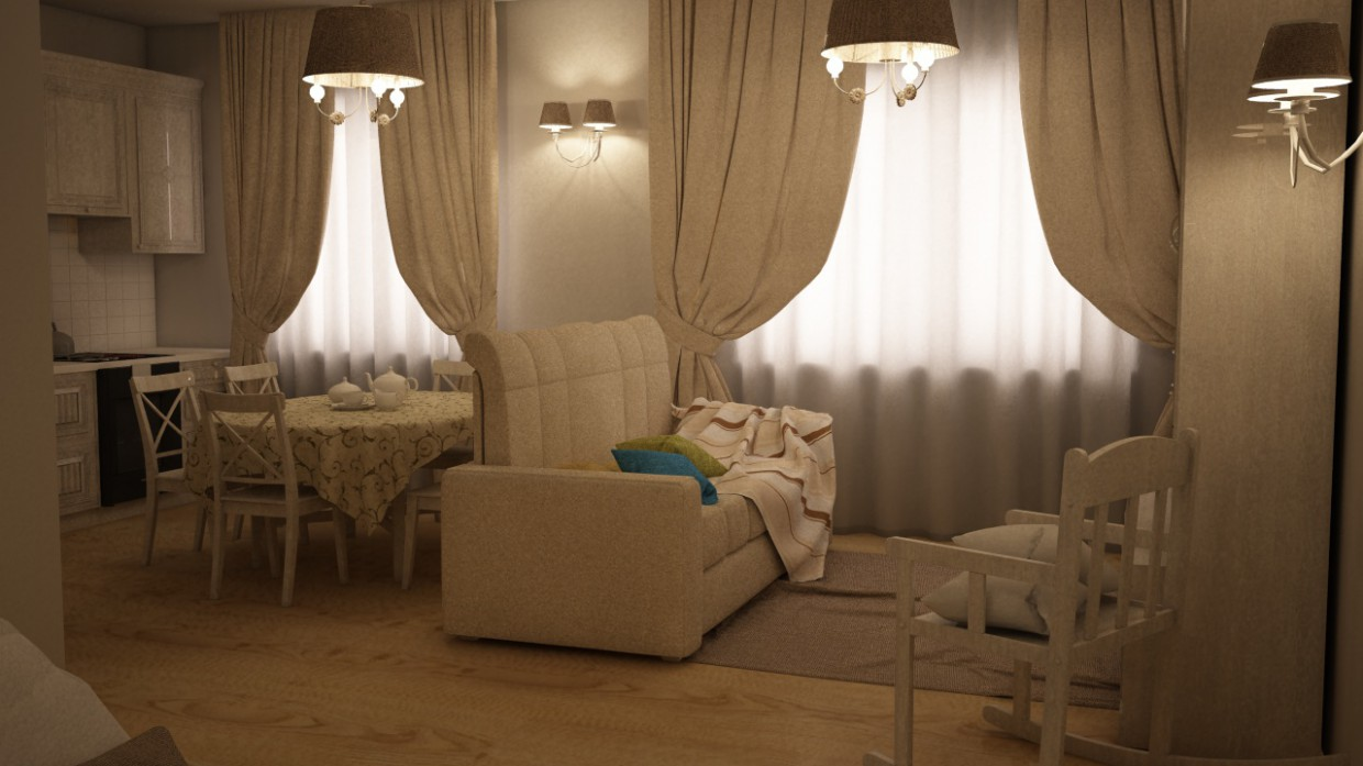 The Interior of an apartment in Cinema 4d vray image