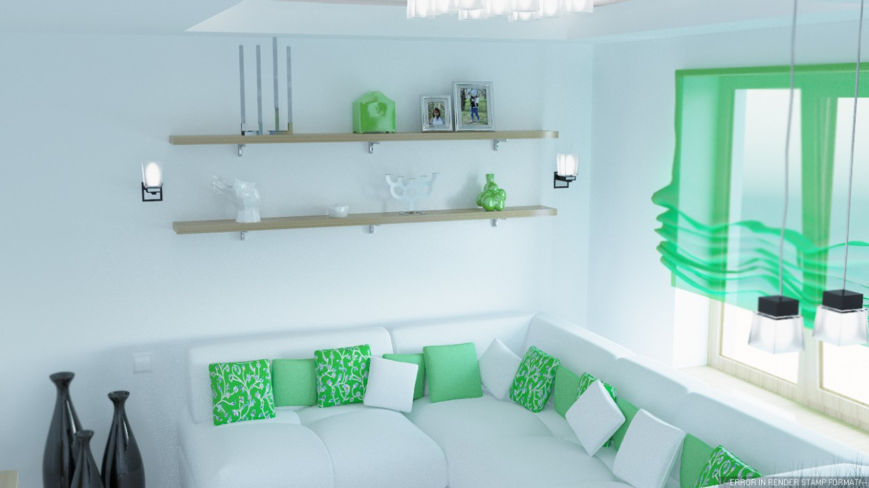 Вітальня в скандинавському стилі в 3d max corona render зображення