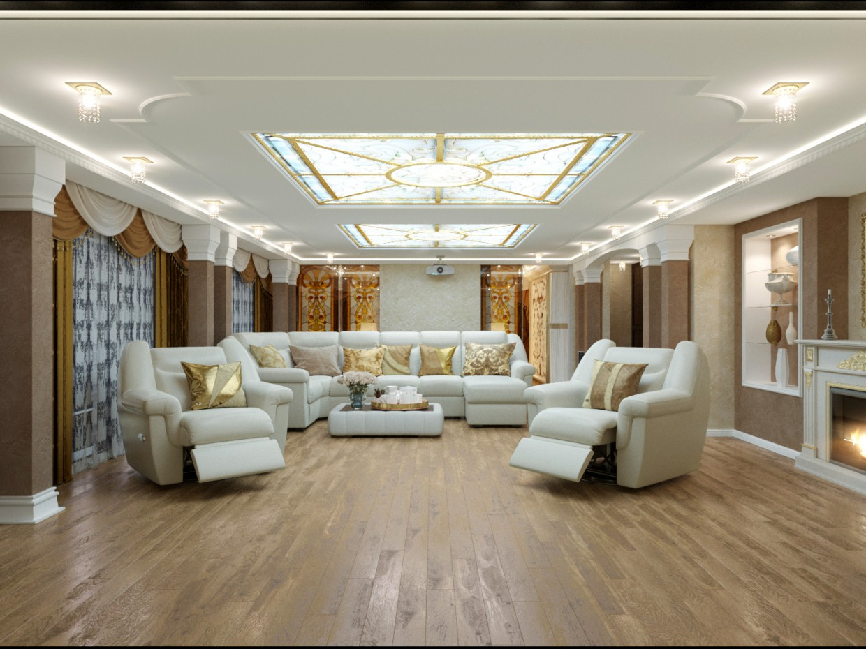Home cinema and bedroom in 3d max corona render image