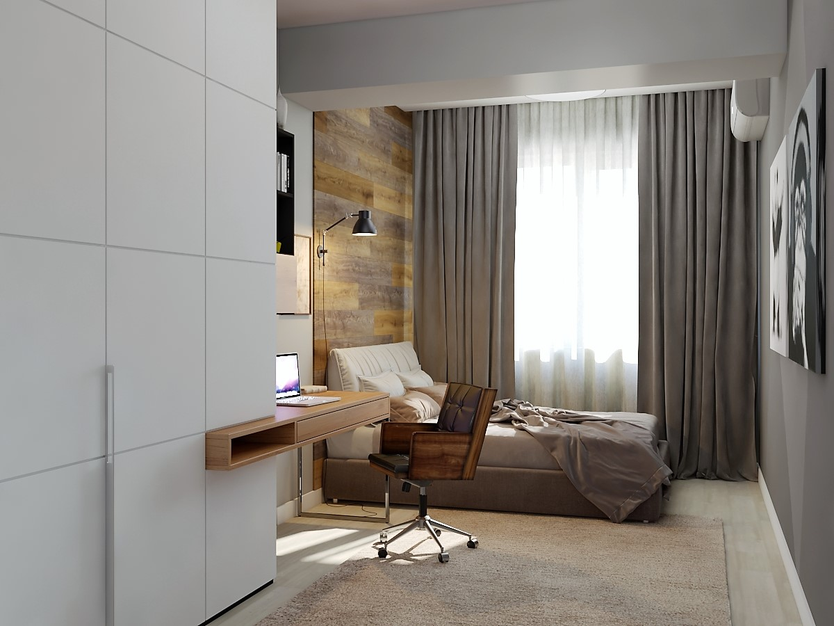 bedroom for a young guy in 3d max vray 3.0 image