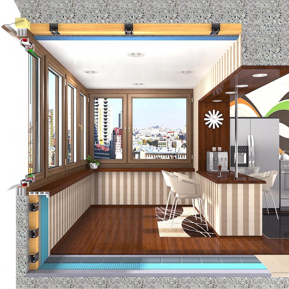 Схема соединения балкона с комнатой.