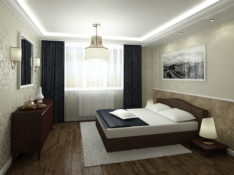 3d visualization of the project in the Master bedroom for couples on Korolenko 3d max, render vray 3.0 of nataliroman
