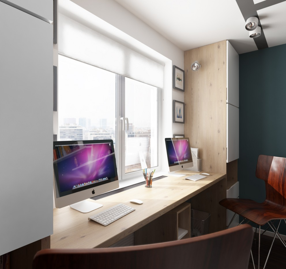 The working space in the children's room  in  3d max   vray  image