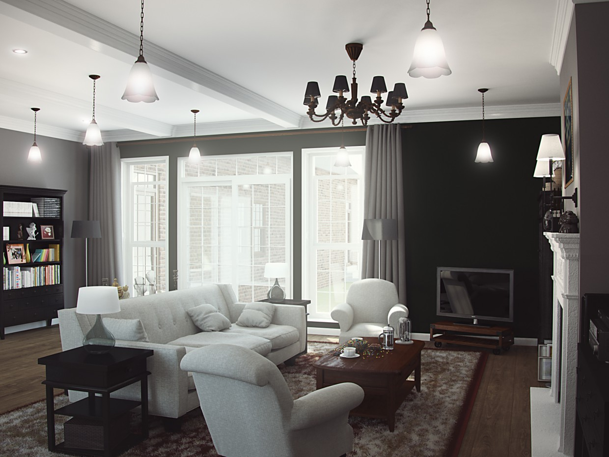 Living in the American style  in  3d max   vray  image