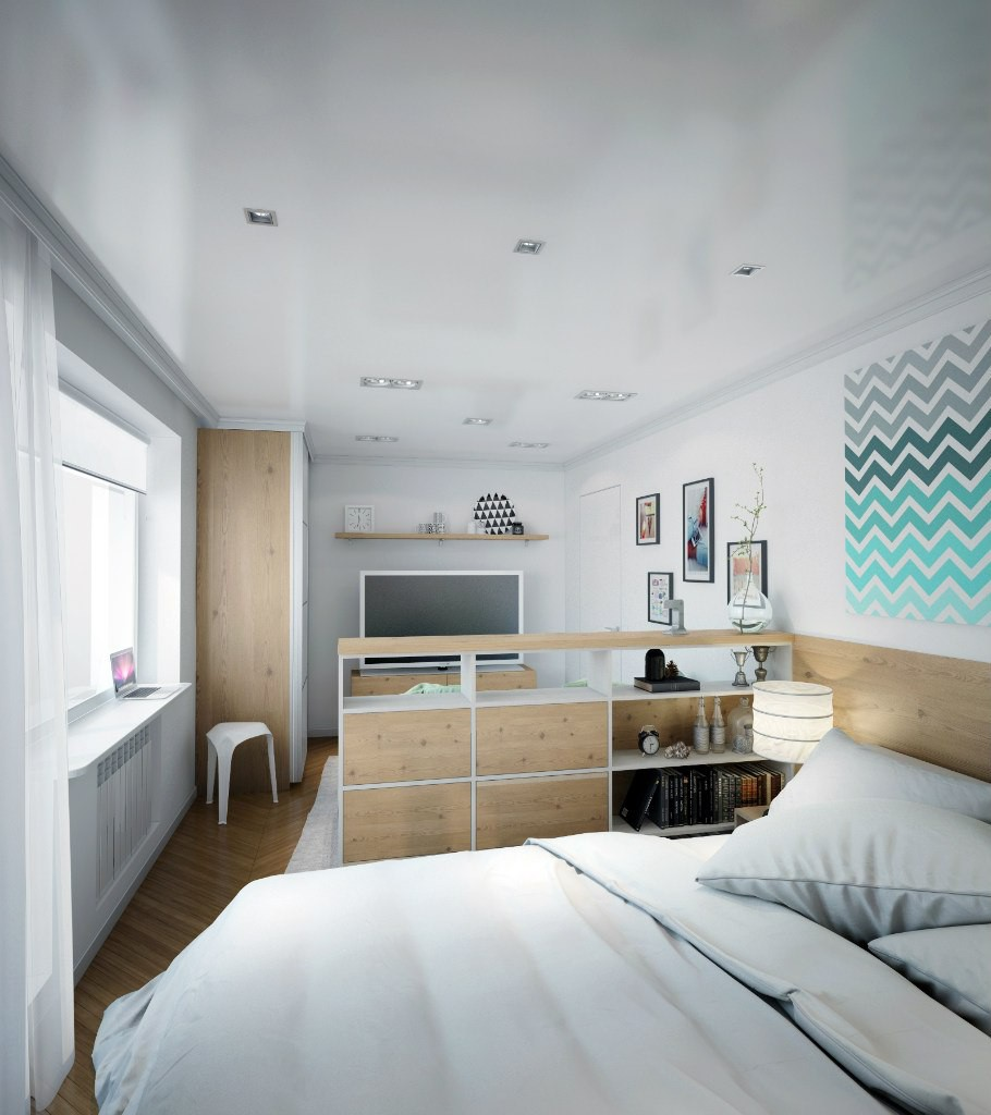 Zoning in a studio apartment in 3d max vray image