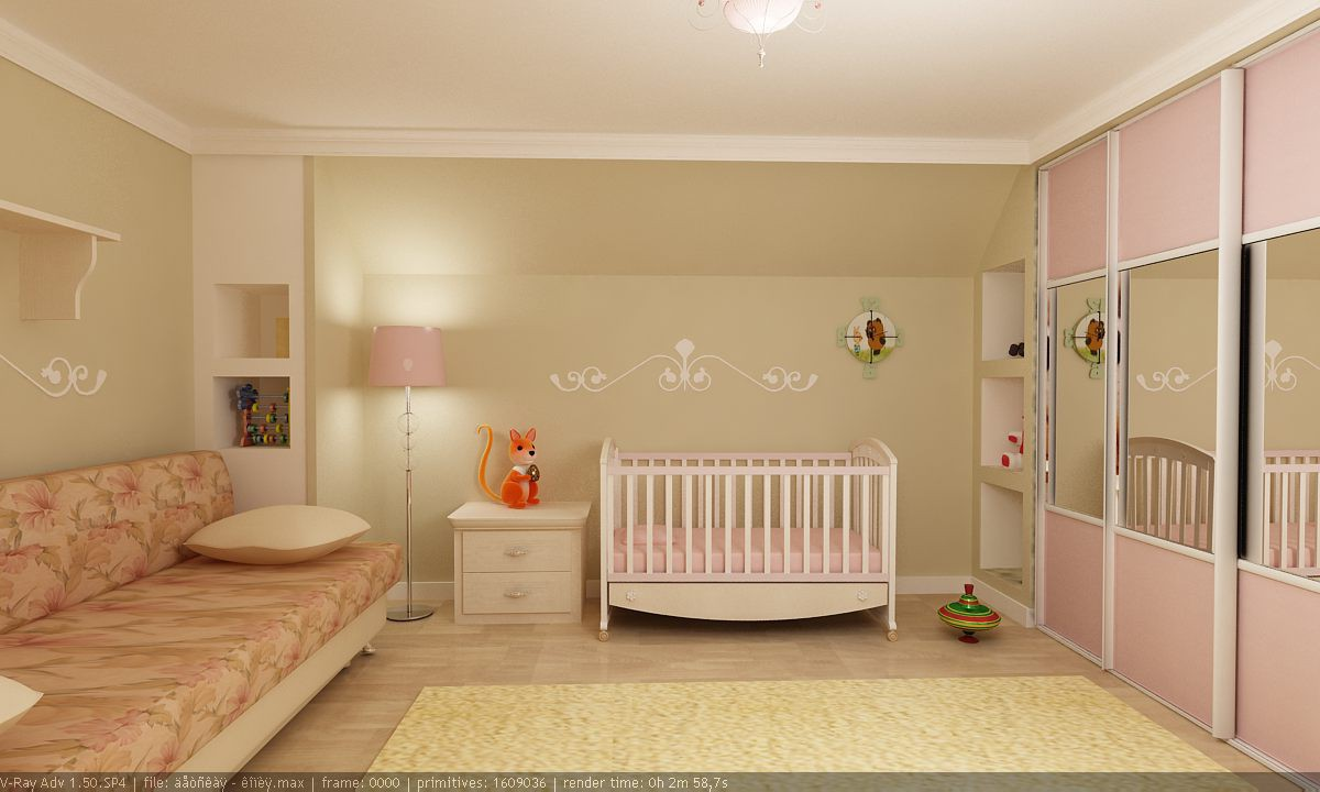 комната для девочки в 3d max vray изображение