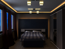 Bedroom in the light of the night city