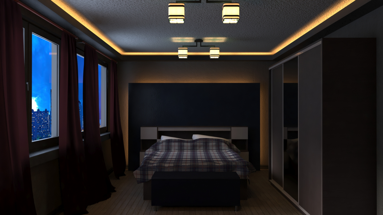 Bedroom in the light of the night city in 3d max vray 3.0 image