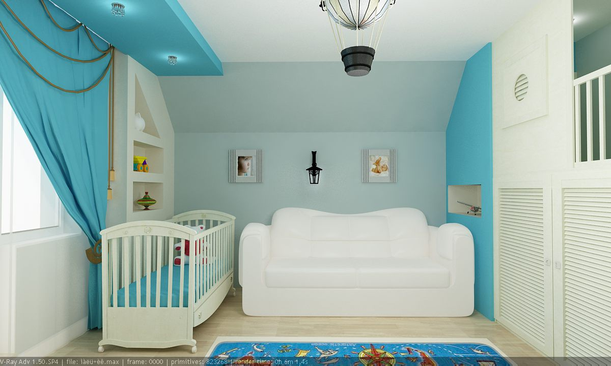 imagen de habitacion para chico en 3d max vray