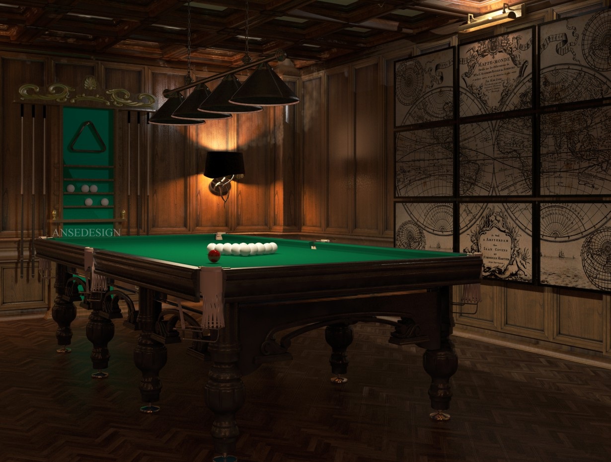 3d visualization of the project in the Billiard room in the English style 3d max, render vray of Anse