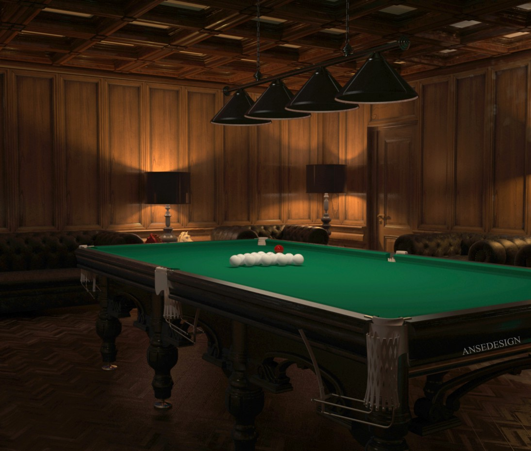 Billiard room in the English style in 3d max vray image