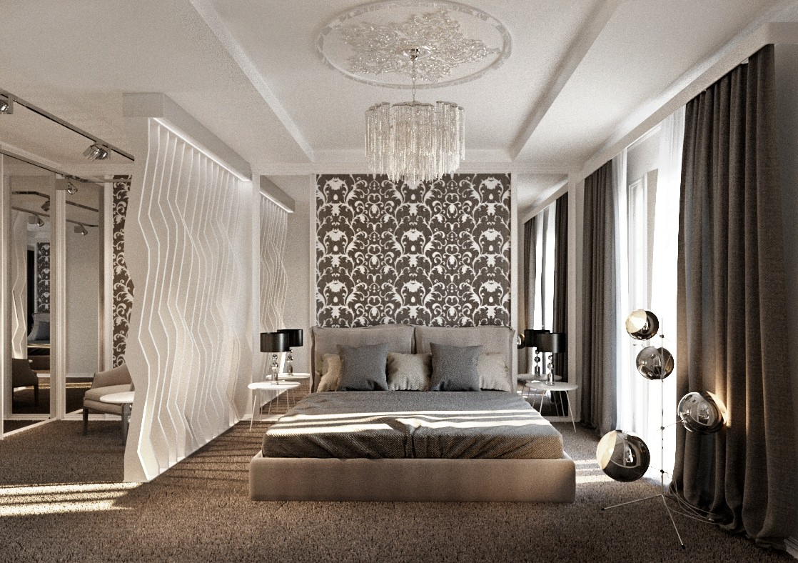 3d visualization of the project in the Eclectic style bedroom 3d max, render corona render of N@talia