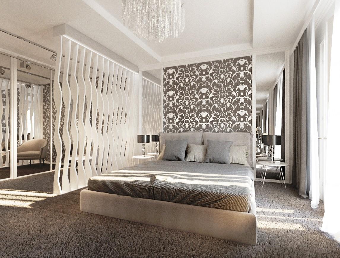 Eclectic style bedroom in 3d max corona render image