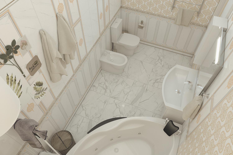 बाथरूम 3d max corona render में प्रस्तुत छवि