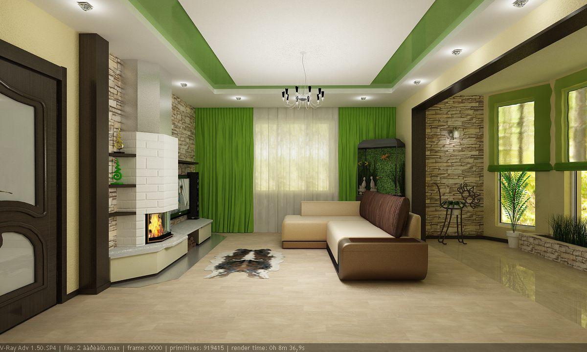 вітальня в будинку в 3d max vray зображення