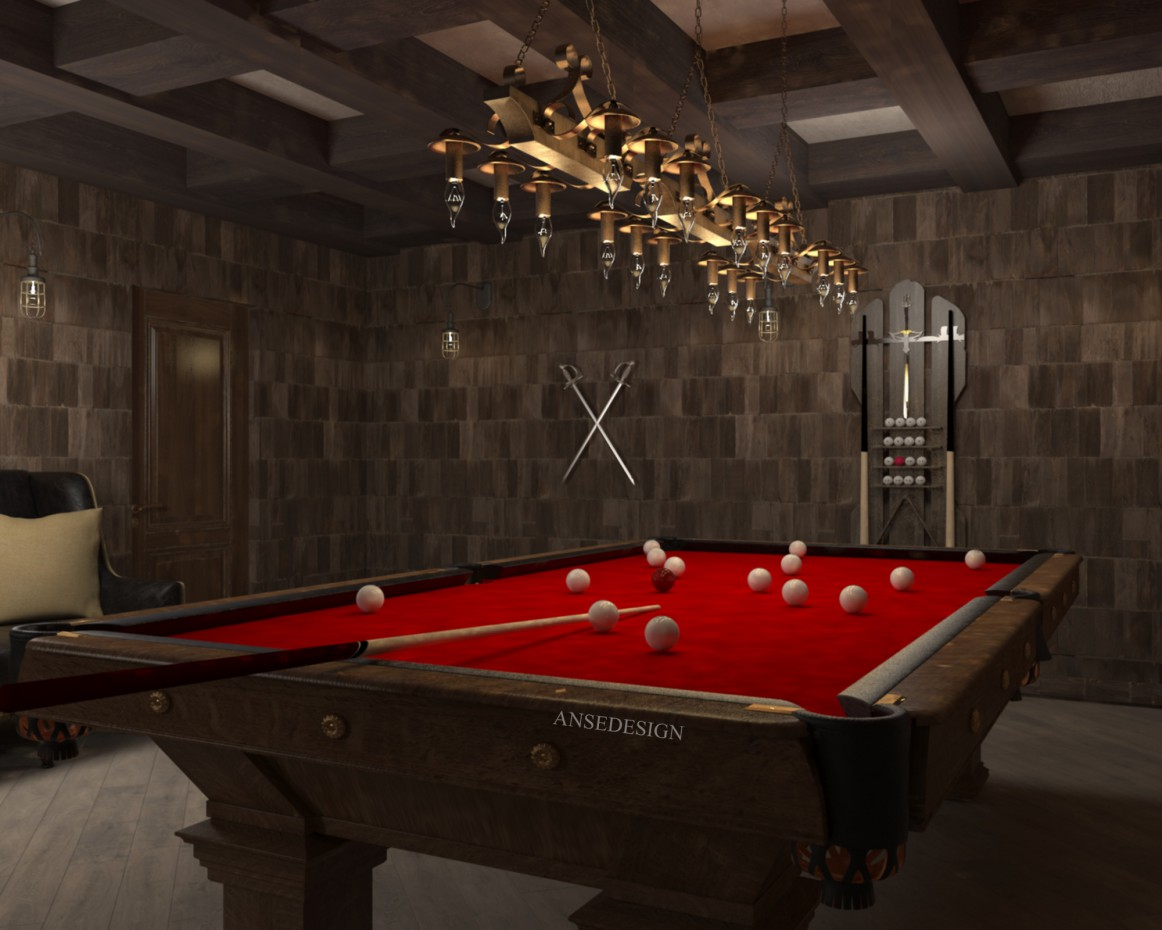 Billiard in the chivalric style in 3d max vray image