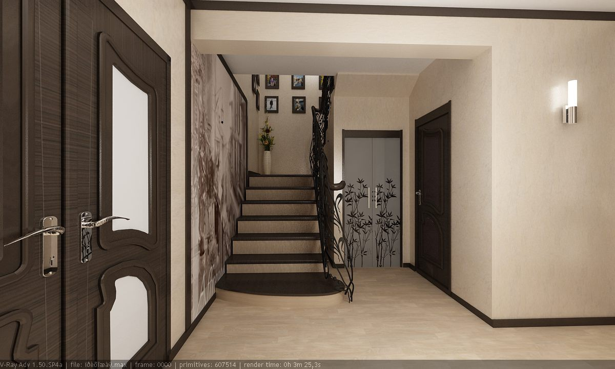 3d visualization of the project in the hall 3d max, render vray of интерьер
