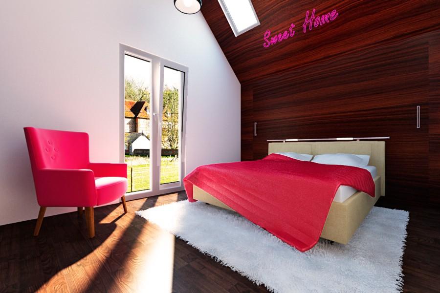 Спальня на горищі в 3d max vray зображення