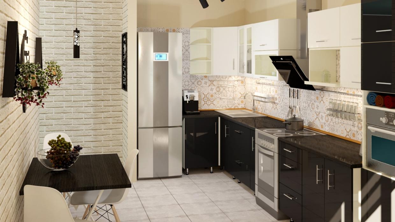 एक बेडरूम का अपार्टमेंट। रसोई 3d max corona render में प्रस्तुत छवि