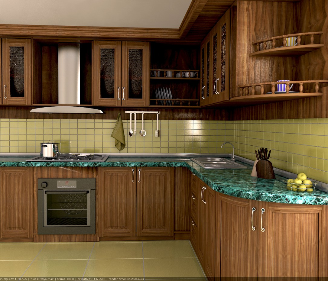 3d visualization of the project in the Kitchen 3d max, render vray of