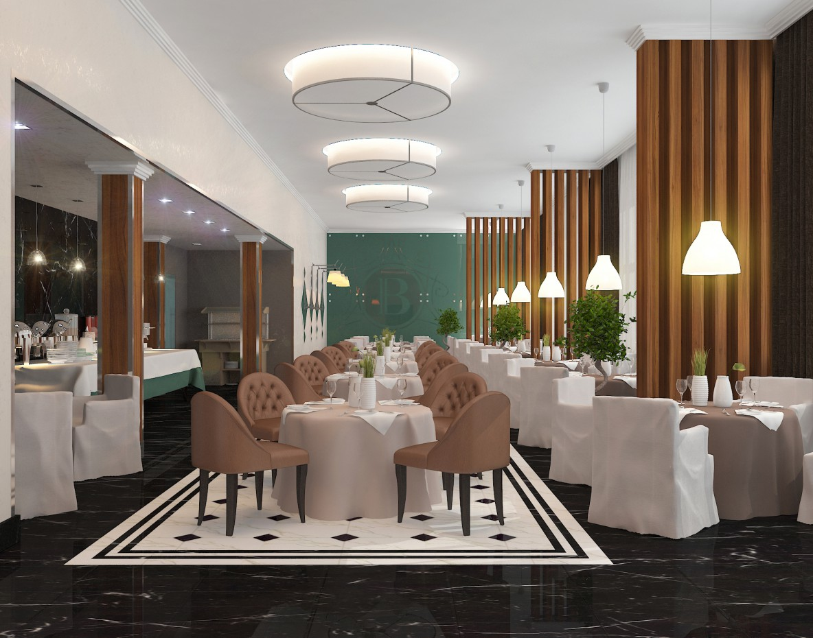 The restaurant in the hotel in 3d max vray image