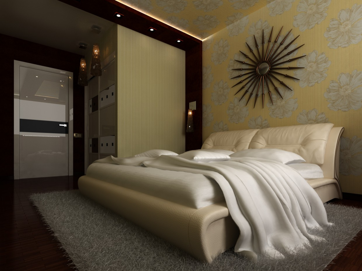 3d visualization of the project in the Bedroom 3d max, render vray of Vasilij Starko