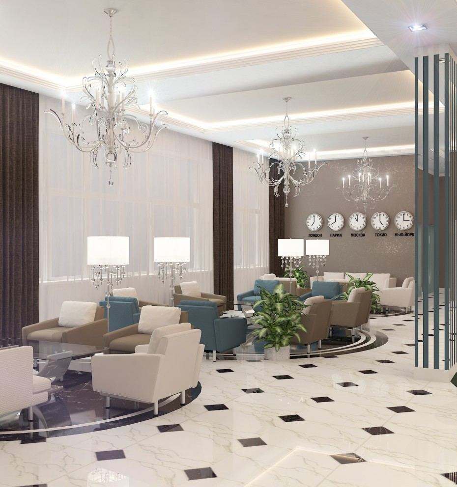 Hotel lobby in 3d max vray image
