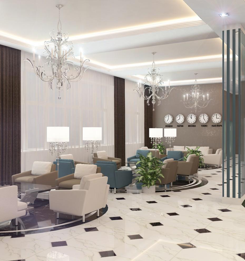 Вестибюль отеля в 3d max vray изображение