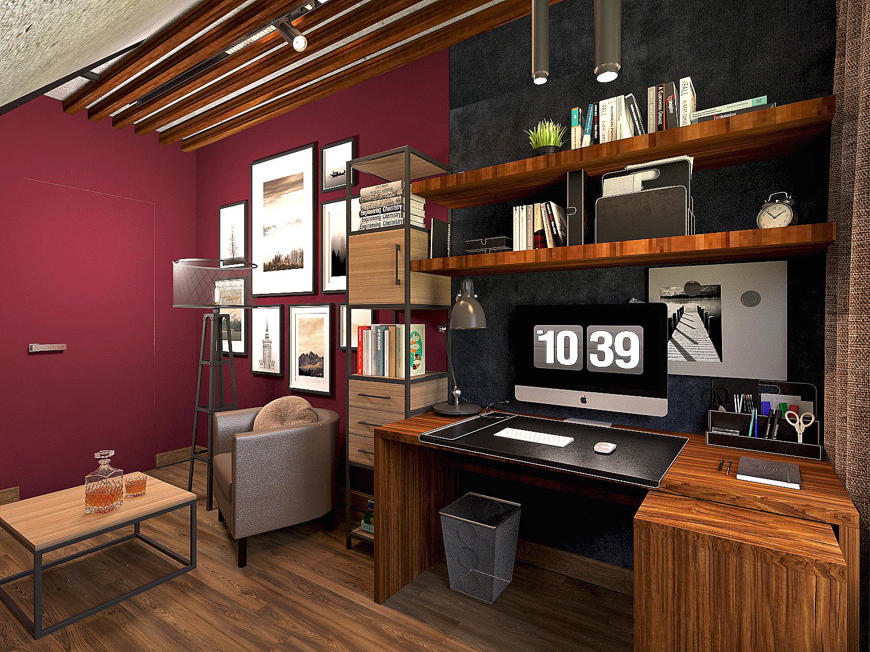 एक निजी घर में कमरा 3d max vray 3.0 में प्रस्तुत छवि