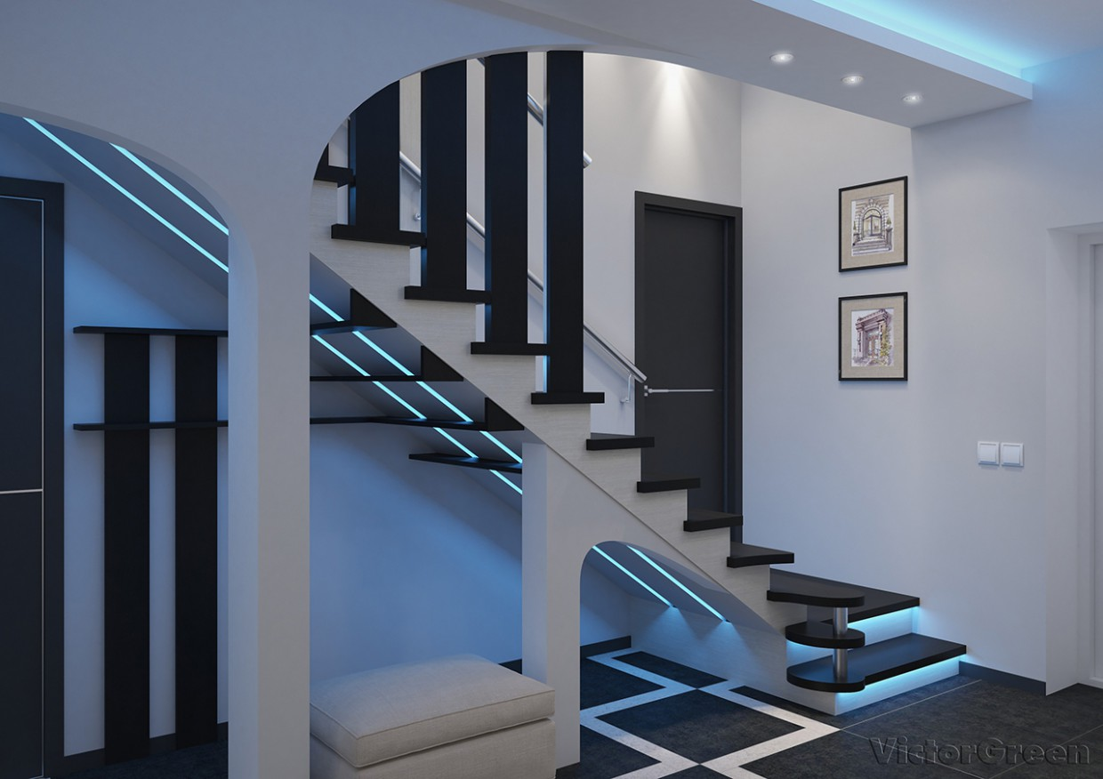 Entrance hall with stairs in 3d max vray 3.0 image