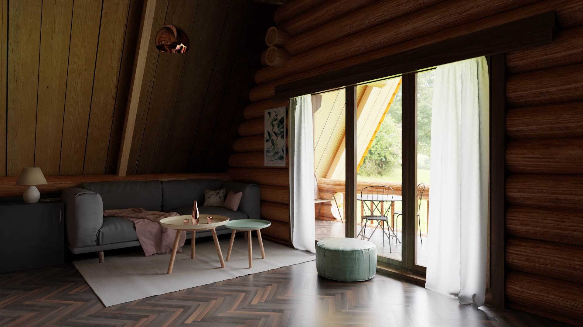 Wooden House in Blender cycles render image