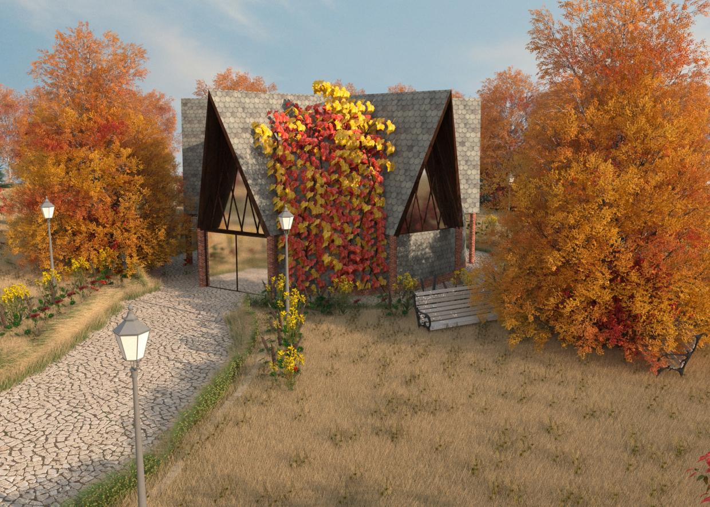 शरद ऋतु में डोम हाउस 3d max corona render में प्रस्तुत छवि