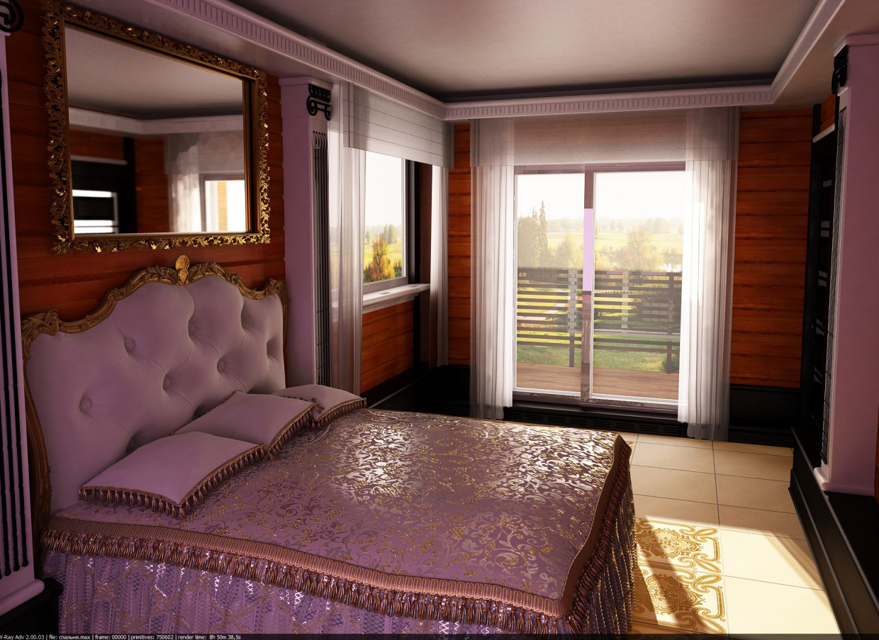 Design of a bedroom (not mine, but what my customer wanted) in 3d max vray image