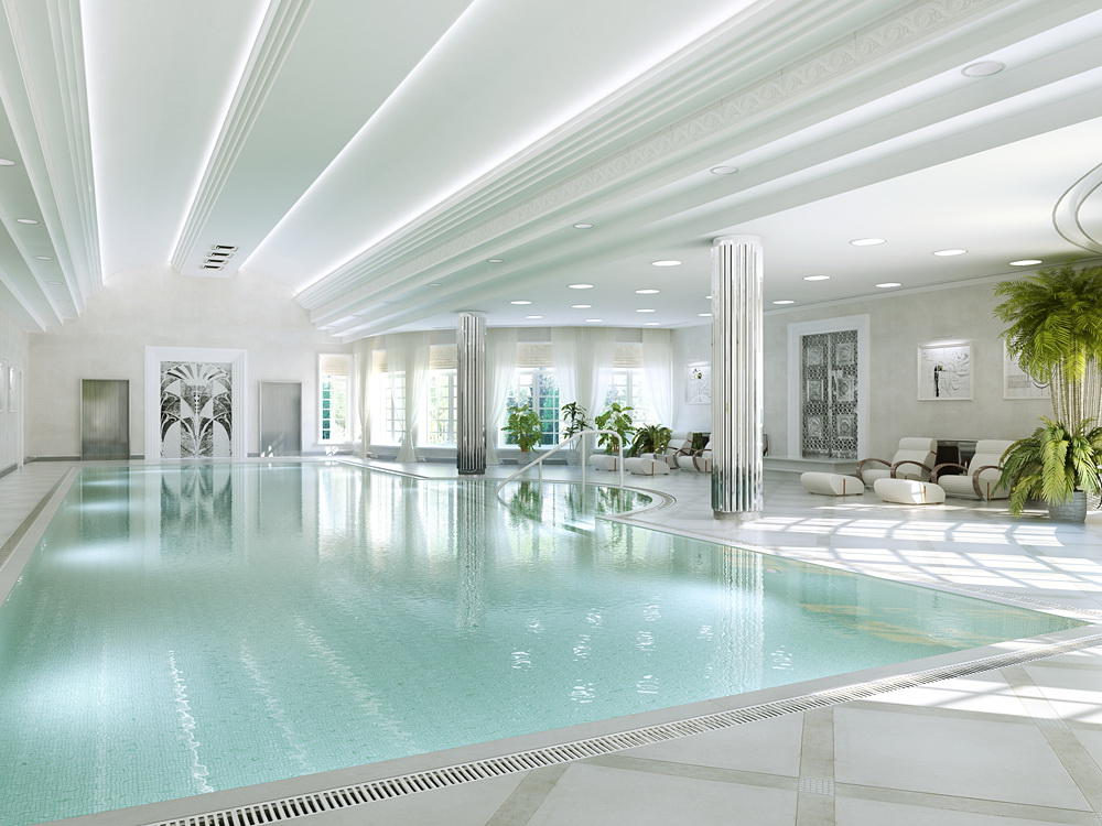Swimming pool in a modern style in Blender cycles render image