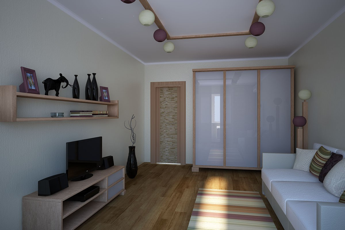 A bedroom for a young man in 3d max vray image