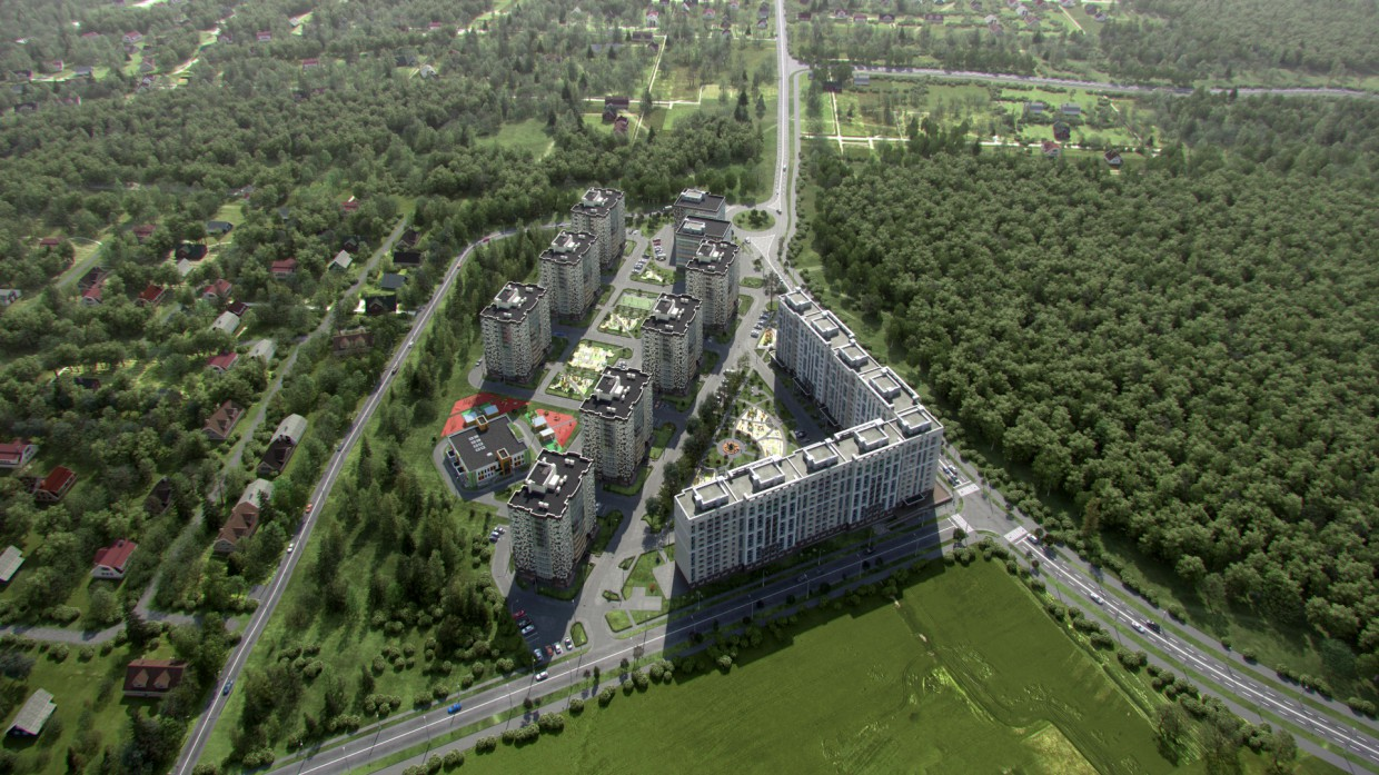 visualization of residential complex in 3d max vray 3.0 image