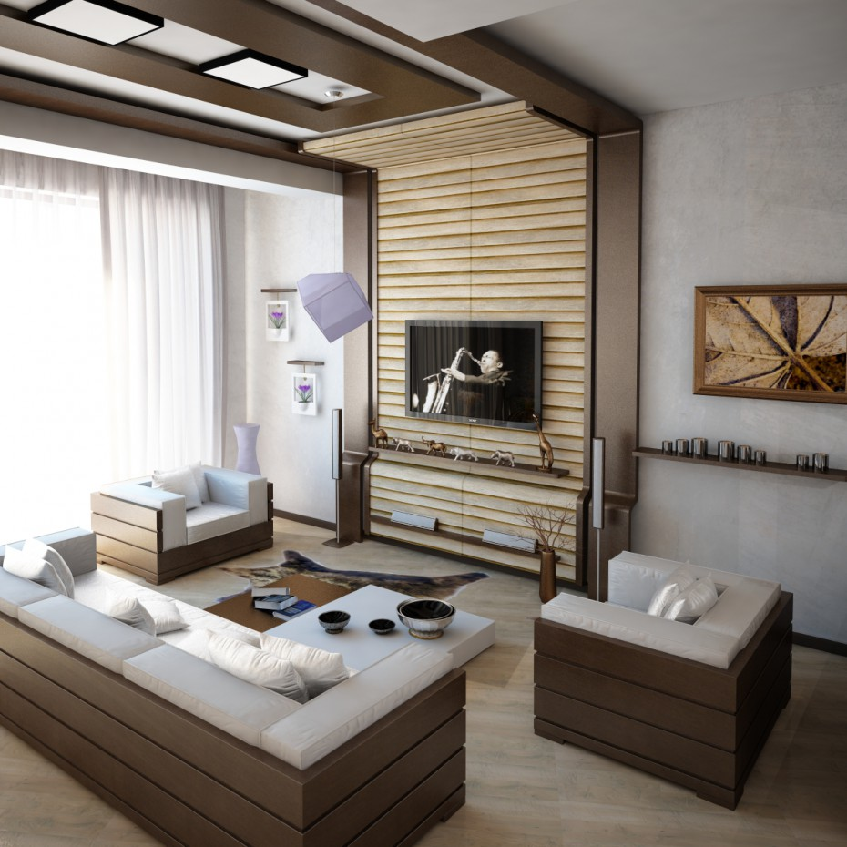 3d visualization of the project in the Livingroom 3d max, render vray of Ulya