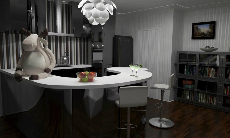 रसोई-रहने वाले कमरे 3d max vray में प्रस्तुत छवि