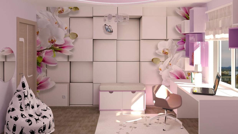 लड़की के लिए बच्चों का कमरा 3d max corona render में प्रस्तुत छवि