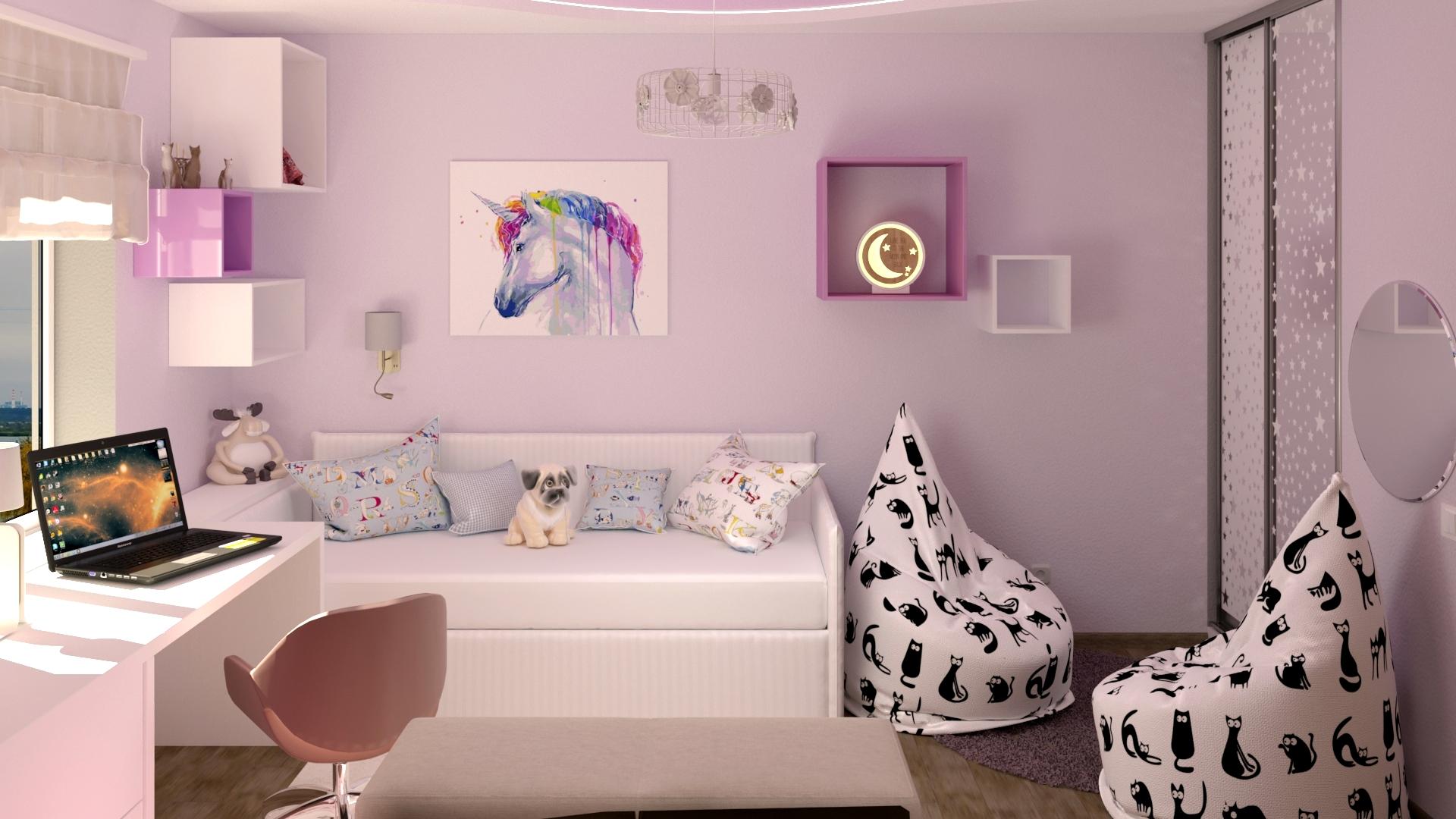 Children's room for the girl in 3d max corona render image