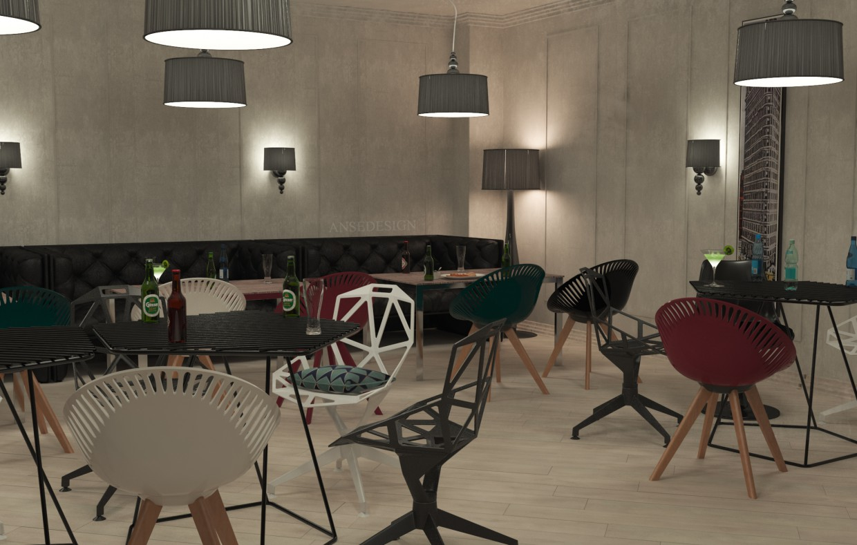 Cafe in modern style. in 3d max vray image