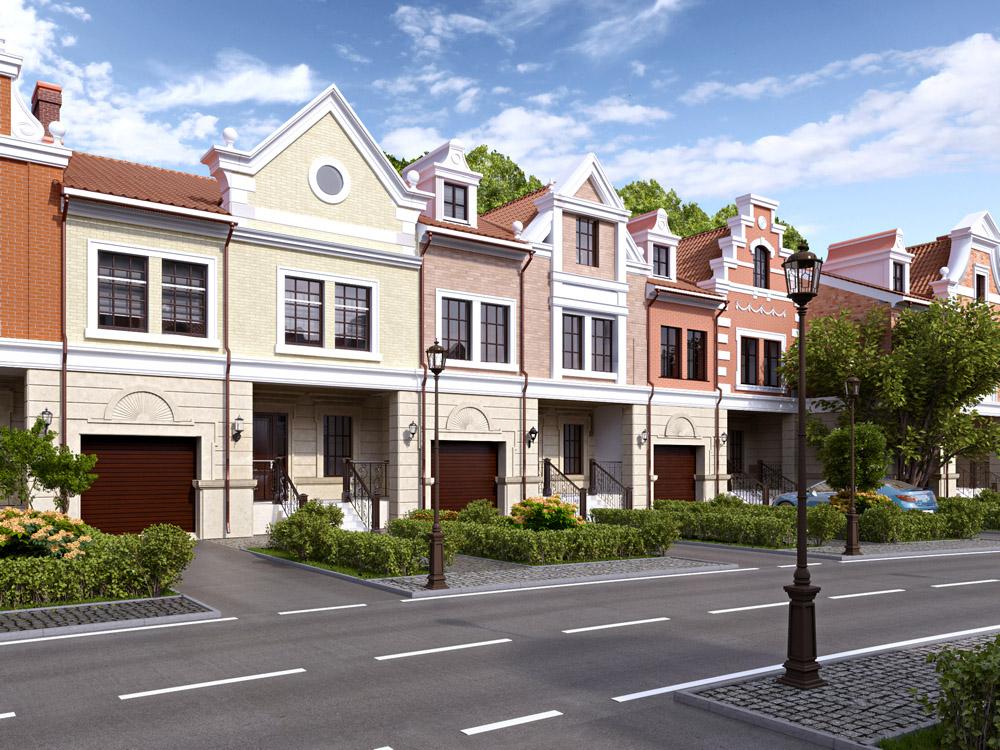 Townhouses in Blender cycles render image