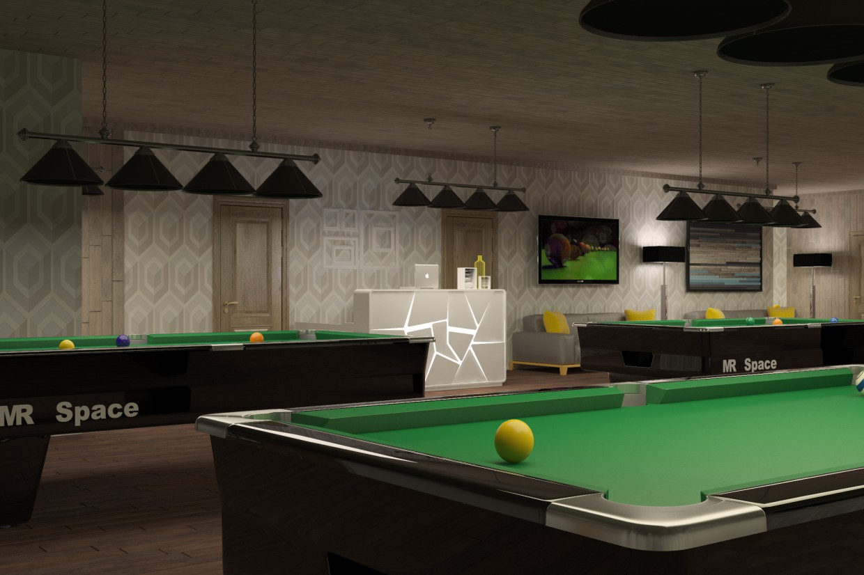 3d visualization of the project in the Billiard Club 3d max, render vray of Anse